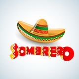 Sombrero Hat vector illustration. Mexican hat on white background. Masquerade or carnival costume headdress Stock Photo