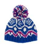 Sombrero hecho punto azul Fotos de archivo libres de regalías