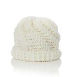 Sombrero hecho punto blanco de las lanas Foto de archivo libre de regalías