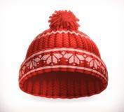 Sombrero hecho punto invierno rojo Engrana el icono Imágenes de archivo libres de regalías