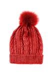 Sombrero hecho punto rojo Foto de archivo