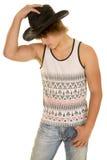 Sombrero joven del control del lado del vaquero del músculo Foto de archivo libre de regalías
