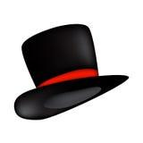 Sombrero mágico, cilindro del sombrero del caballero con el icono de la cinta, símbolo, diseño Foto de archivo libre de regalías