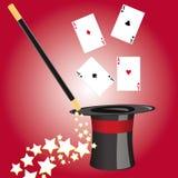 Sombrero mágico de los magos con los accesorios Imagen de archivo