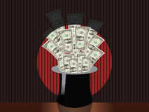 Sombrero mágico del dinero Imagenes de archivo