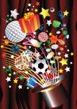 Sombrero mágico y muchos regalos Imagen de archivo