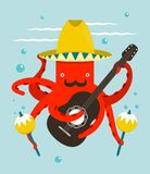 Sombrero Macho Moustache Octopus Playing Guitar Stock Photos