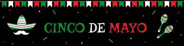 Sombrero and maracas cinco de mayo banner. Traditional festival cinco de mayo web design banner template. Sombrero and mustache, maracas and big title with stock illustration
