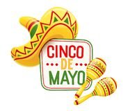 Sombrero and maracas for Cinco de Mayo. Celebration. Mexicano ethnic symbols for national Mexico holiday. Isolated white background. EPS10 vector illustration stock illustration