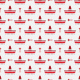 Sombrero and maracas pattern Stock Photos