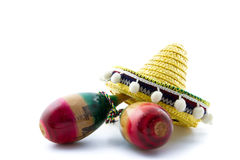 Sombrero and maracas Royalty Free Stock Image