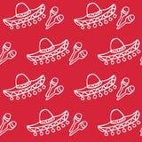 Sombrero messicano e maracas del fondo Immagine Stock Libera da Diritti