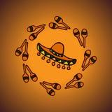 Sombrero messicano e maracas del fondo Immagine Stock