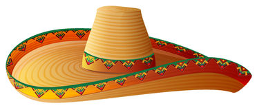 Sombrero Mexican Straw Hat with wide margins. Isolated on white vector illustration royalty free illustration