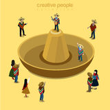 Sombrero Mexican style headwear singer flat isometric vector 3d. Sombrero Mexican style flat 3d isometry isometric concept web vector illustration. Stylish male Stock Image