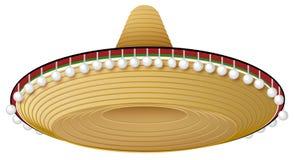 Sombrero mexicano de la paja con el borde y las decoraciones anchos Imagen de archivo
