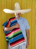 Sombrero mexicano del sombrero del poncho del serape del hombre Fotos de archivo