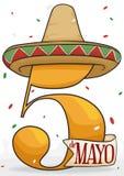 Sombrero mexicano y confeti festivo para Cinco de Mayo Celebration, ejemplo del vector Imagenes de archivo