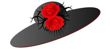 Sombrero negro con las rosas rojas en un fondo blanco Fotos de archivo libres de regalías