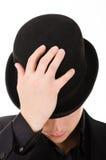 Hombre elegante retro en sombrero negro imagen de archivo