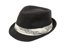 Sombrero negro de Fedora con la venda blanca Foto de archivo