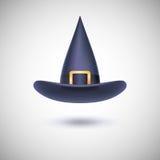 Sombrero negro de la bruja para Víspera de Todos los Santos Imagenes de archivo