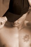 Sombrero negro llano Fotografía de archivo