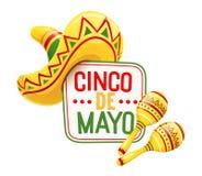 Sombrero och maracas för Cinco de Mayo stock illustrationer