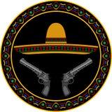Sombrero och två pistoler Arkivbild