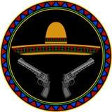 Sombrero och två pistoler Arkivfoton
