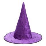 Sombrero púrpura de la bruja de la tela para Halloween Fotos de archivo libres de regalías