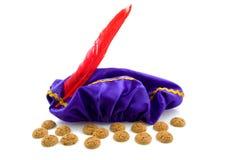 Sombrero púrpura de Zwarte Piet Imágenes de archivo libres de regalías