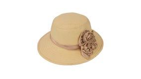 sombrero para la señora o sombrero de paja bonito con la flor aislada en b blanco Fotos de archivo libres de regalías