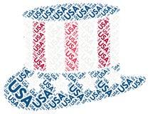 Sombrero patriótico de los E.E.U.U.: Etiqueta de la nube de la palabra Fotografía de archivo libre de regalías