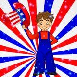 Sombrero patriótico del tío Sam en mano joven del muchacho de América: para el 4to de los saludos de la tarjeta del día festivo d Imagenes de archivo