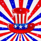 Sombrero patriótico del tío Sam para el 4to de los saludos de la tarjeta del día festivo de julio en formato del vector Foto de archivo libre de regalías