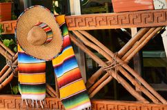 Sombrero and poncho Royalty Free Stock Photos