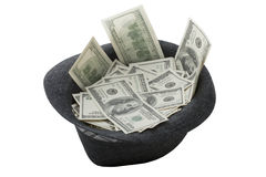 Sombrero por completo del dinero Foto de archivo libre de regalías