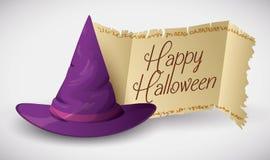 Sombrero púrpura del mago con el sello clásico de la voluta, ejemplo del vector Foto de archivo