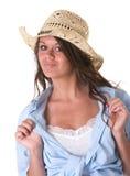 Sombrero que desgasta del adolescente de la muchacha Foto de archivo