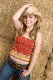 Sombrero que desgasta del Cowgirl Foto de archivo libre de regalías
