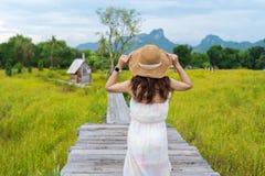 Sombrero que lleva de la mujer y colocación en el puente de madera con el campo de flor del cosmos foto de archivo libre de regalías