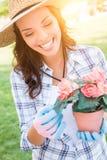 Sombrero que lleva y guantes de la mujer adulta de Smilng que cultivan un huerto al aire libre Fotos de archivo