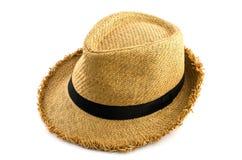 Sombrero que teje de Brown aislado en blanco Imágenes de archivo libres de regalías