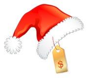 Sombrero rojo de la Navidad con la escritura de la etiqueta de precio ilustración del vector