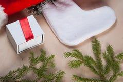 Sombrero rojo de Papá Noel, árbol de la rama, Fotos de archivo