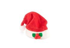 Sombrero rojo de Papá Noel del día de fiesta aislado sobre blanco Fotografía de archivo libre de regalías