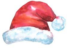 Sombrero rojo de Papá Noel de la Navidad, acuarela Imágenes de archivo libres de regalías