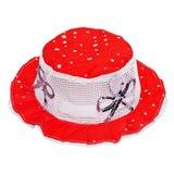 Sombrero rojo del niño en blanco Imagenes de archivo