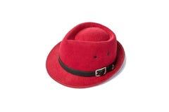 Sombrero rojo del vintage en el fondo blanco Fotos de archivo libres de regalías